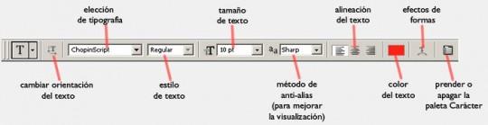 La barra de herramientas superior