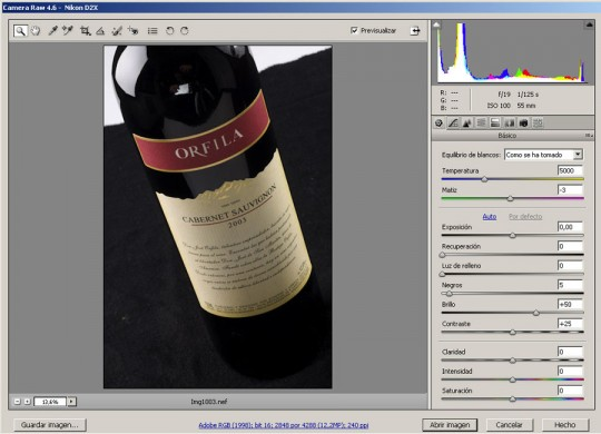 La captura RAW original - Fotografía de botella - cursos de fotografía y video