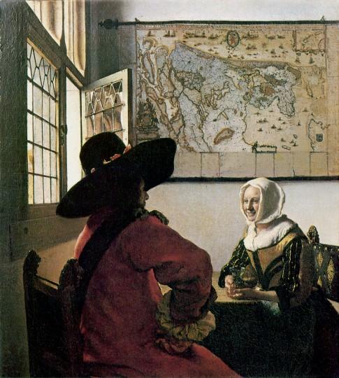 Oficial y joven sonriendo. Johannes Vermeer
