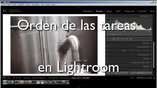 Orden de las tareas en Lightroom