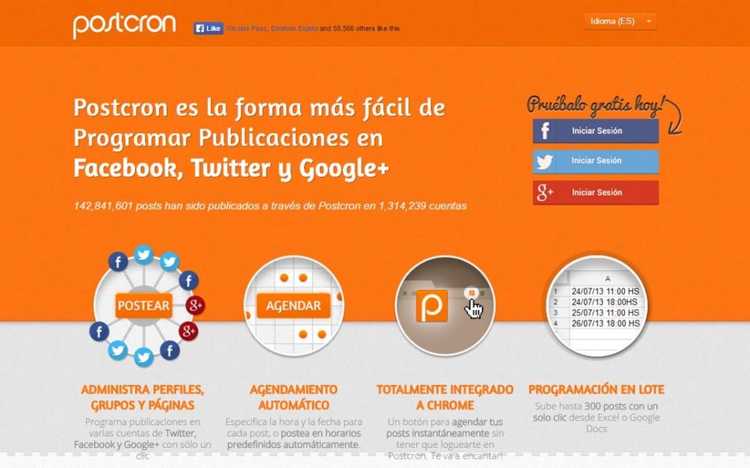 Postcron, el modo más rápido y seguro para programar tu presencia en las redes sociales